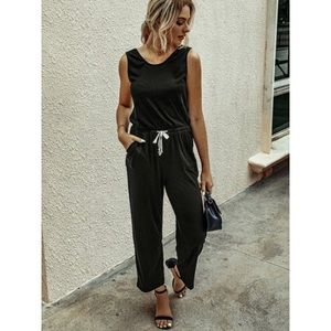 Casual jogger jumpsuit drawstring cinch waist